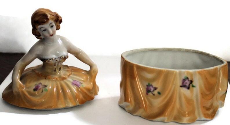 Porcelain Figural Lady Jar Powder Box Art Deco Design Vanity Box Trinket Box