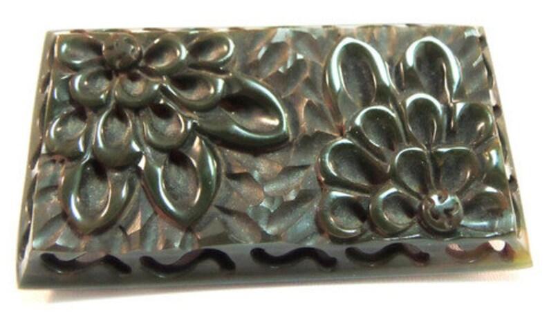 Bakelite Detailed Hank Carved Deep Green  Floral BroochPin Vintage 1930 Bakelite Jewelry Art Deco Jewelry Flower Pin
