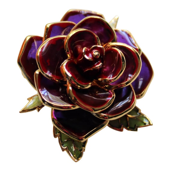Vintage Joan Rivers Enameled Burgundy Rose Brooch/