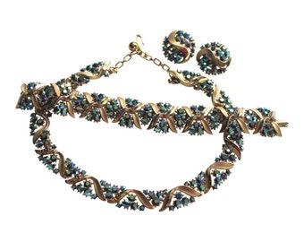 Trifari Rhinestone Necklace Bracelet Earrings Set Parure 1950s Vintage Pat Pend Bridal Jewelry Statement Jewelry Designer Jewelry