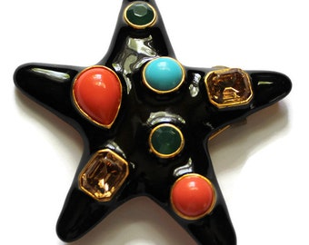 Kenneth Lane Jackie Starfish Brooch/Pin Black Enamel Book Piece Statement Jewelry Designer Signed Beach Jewelry Seashore Coastal Decor
