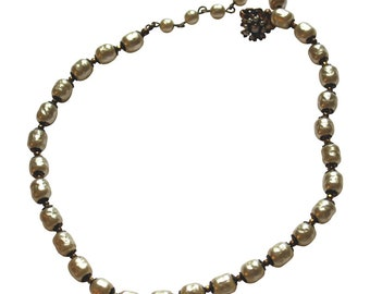 Vintage Miriam Haskell Graduated Baroque Glass Pearl Necklace Vintage Jewelry Princess Length Single Strand Pearls Luxury Gift for Her