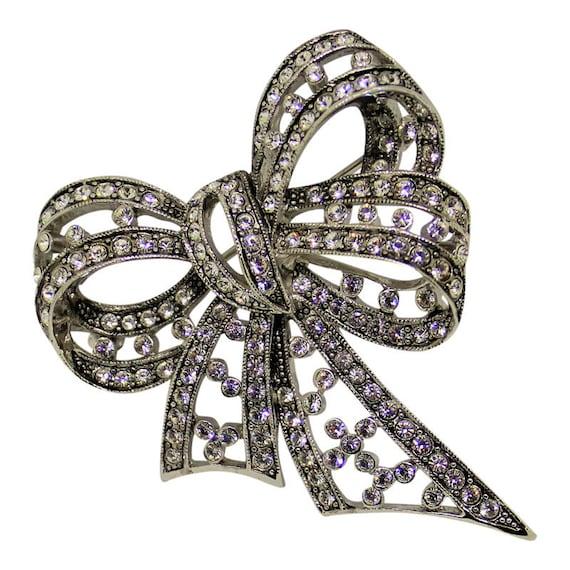 Beautiful Joan Rivers Silver Rhinestone Bow Brooch