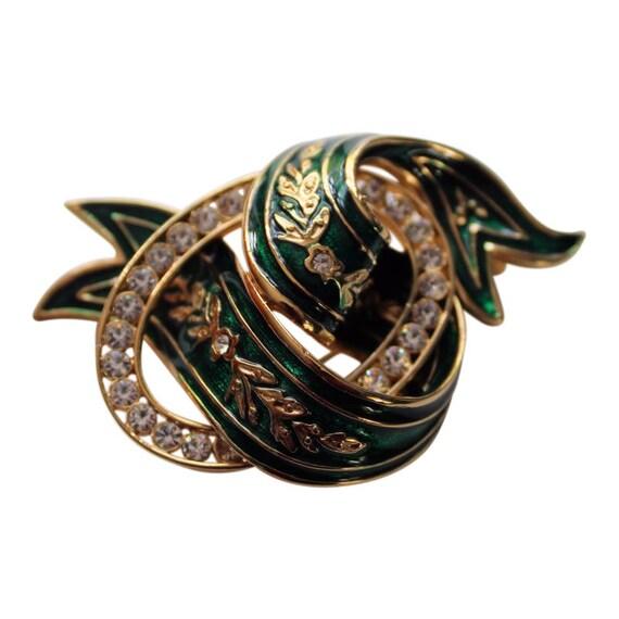 Joan Rivers  Green Ribbon Brooch/Pin  Emerald Gree
