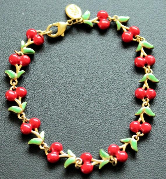 Joan Rivers Vintage  Enamel Cherry Bracelet