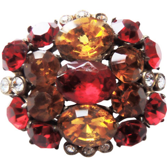 Staret Retro Shades of Red Glass Stone Brooch/Pin