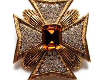 Magnificent Gold Maltese Cross Brooch/Pin By Joan RIvers Vintage 1990 Statement Jewelry Military Gold Brooch Gift For Him Gift For Her