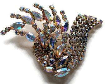 Magnificent Stylized Aurora Borealis  Bird Brooch/Pin Signed Pierre Vintage 1950 Bridal Pin Statement Jewelry Rhinestone Pin Art Deco Style