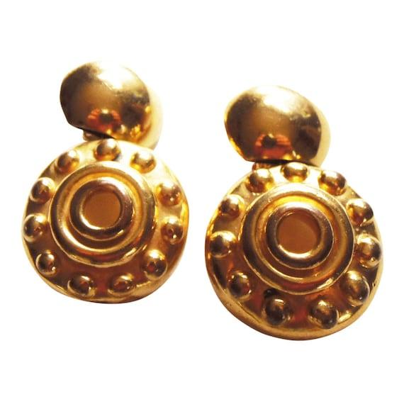 Gold Bohemian Style Hoop Earrings Vintage 1990 Dis
