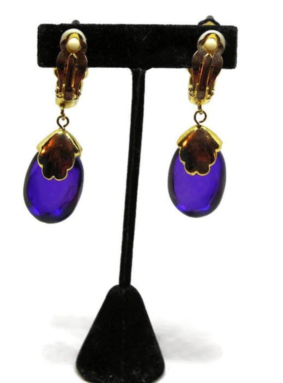 Vintage 1970s Gold and Purple Lucite Dangle Boho Pendant Necklace