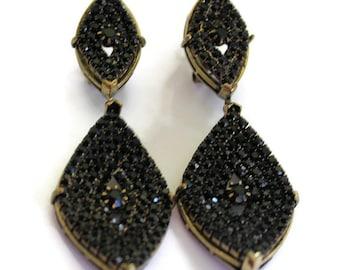 Roman Luxe Gold With Black Rhinesone Drop Earrings Statement Jewelry Gold Earrings