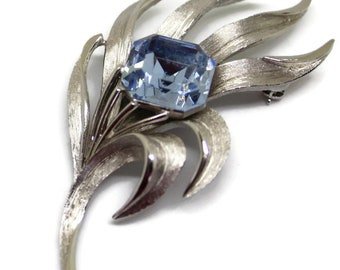 Classic Vintage Trifari Blue Flower Brooch/Pin 1960's Style Boho Style Statement Jewelry Bridal Pin Wedding Jewelry Gift For Her
