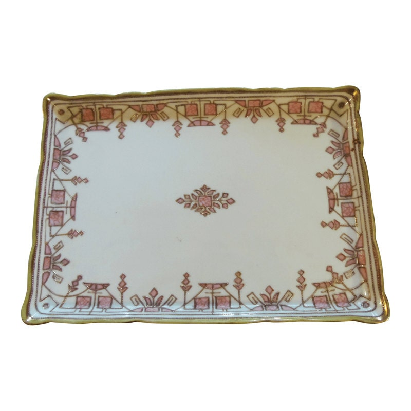 2529a31bf84 Antique Nippon Hand Painted Porcelain Pink Gilt Art Deco Vanity Tray.  gallery photo ...