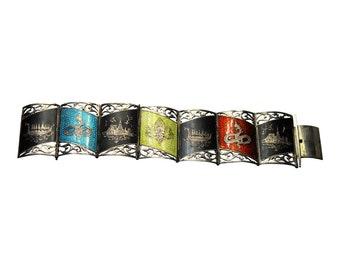 Vintage SIAM Sterling Nielloware Link Bracelet, 7 Inch Bracelet, SIAM Bracelet, Sterling Bracelet, Niello Bracelet, Panel Bracelet