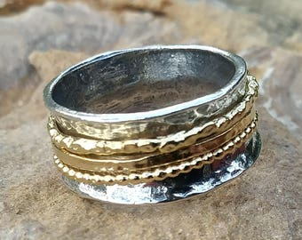 Spinner Ring, Meditation Ring, Gold and Silver Spinning Ring, Fidget Ring, Two Tone Ring, Mixed Metal Ring, Wide Ring, Multiband Spin Ring