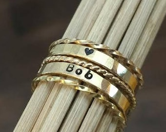Gold Mothers Name Ring Set Personalized Gold Rings Stackable Name Ring Set Custom Gold Name Ring Stacking