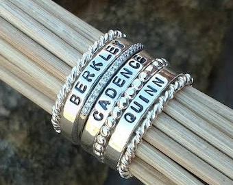Personalized stackable stacking ring, sterling silver hand stamped stacking ring, Gift for Mom, Gift for her, Gift for grandma, Custom Rings