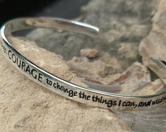 Serenity Prayer Cuff Bracelet Sterling Silver Courage