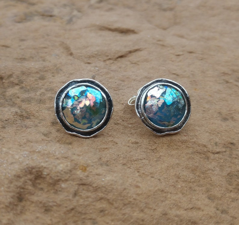 Sterling Silver Ancient Roman Glass Stud Earrings Holy Land Jewelry Religious Gift for Her Easter Jewelry Symbolic Meaningful Jewelry