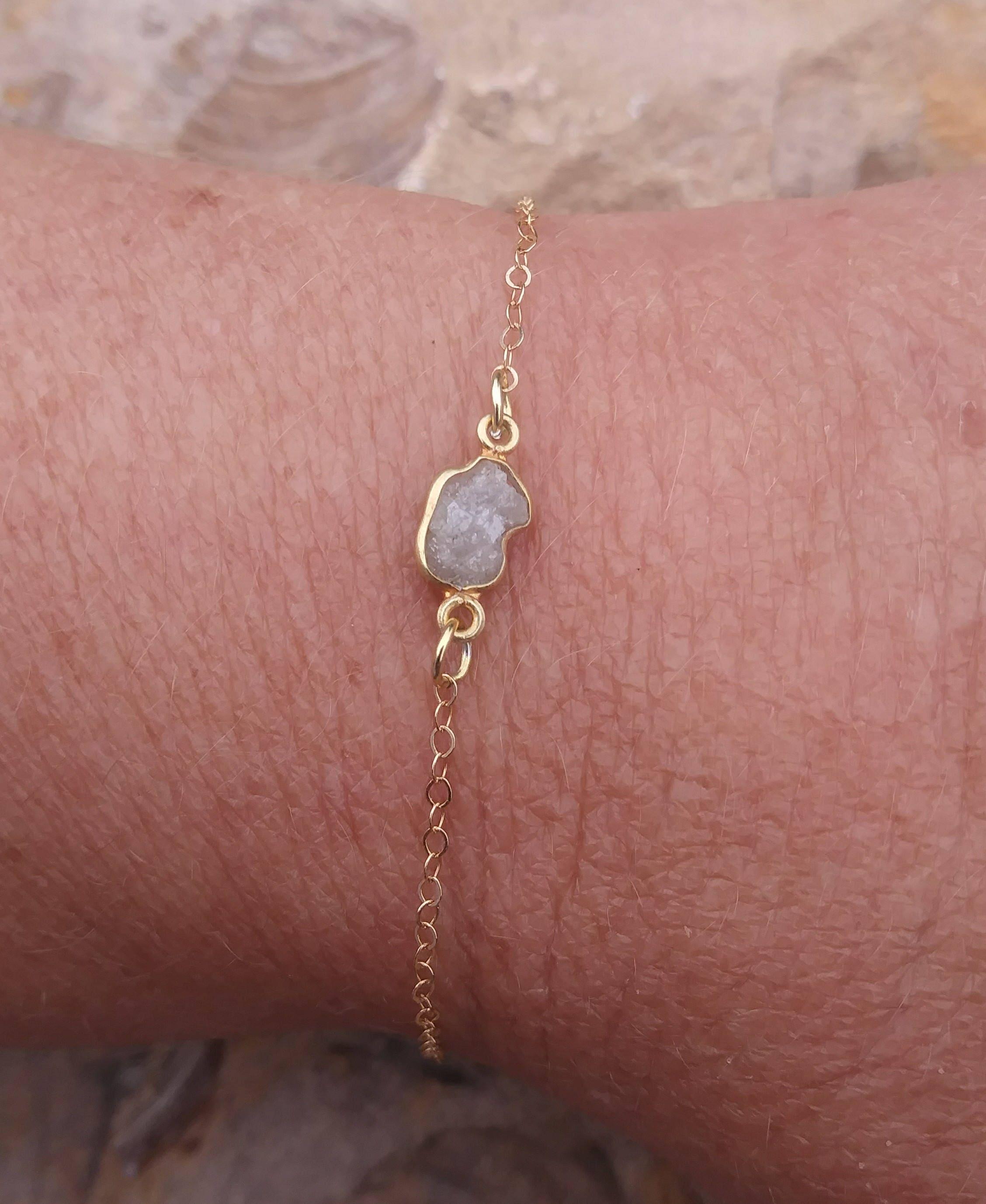 Raw Diamond Bracelet Dainty Bracelet Delicate Bracelet | Etsy