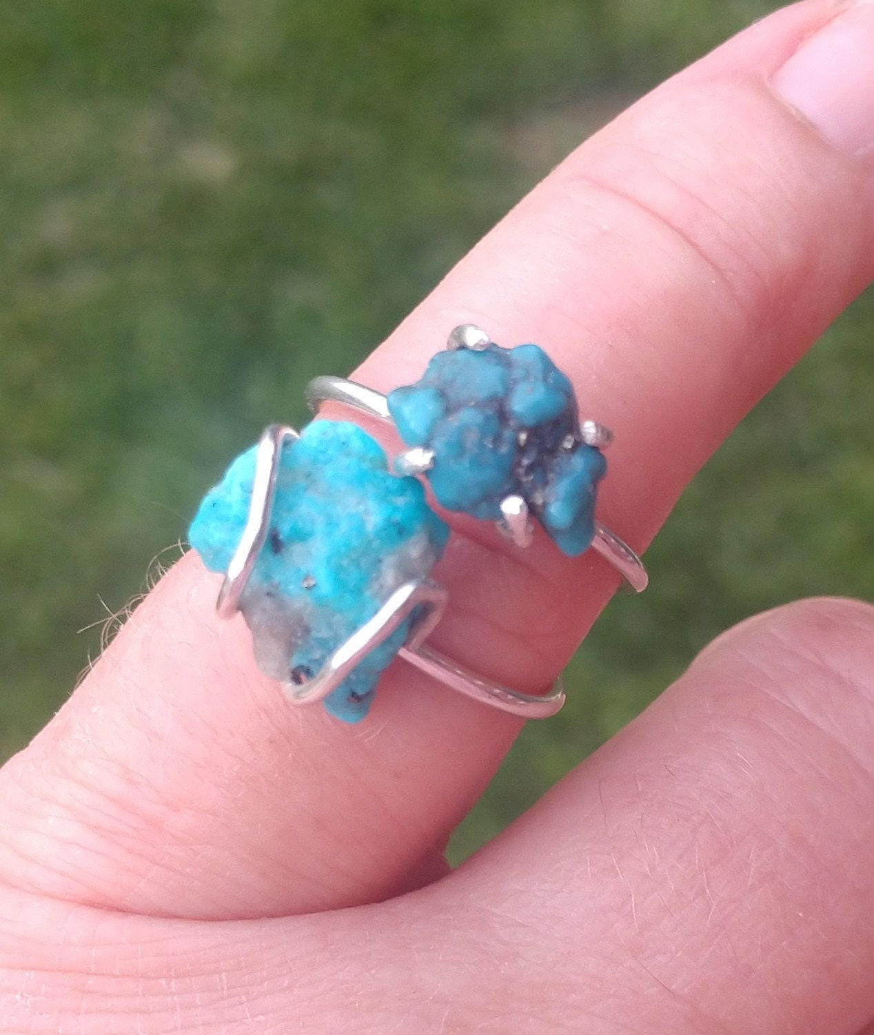Turquoise Ring Raw Stone Rings Natural Rough Uncut Sterling | Etsy