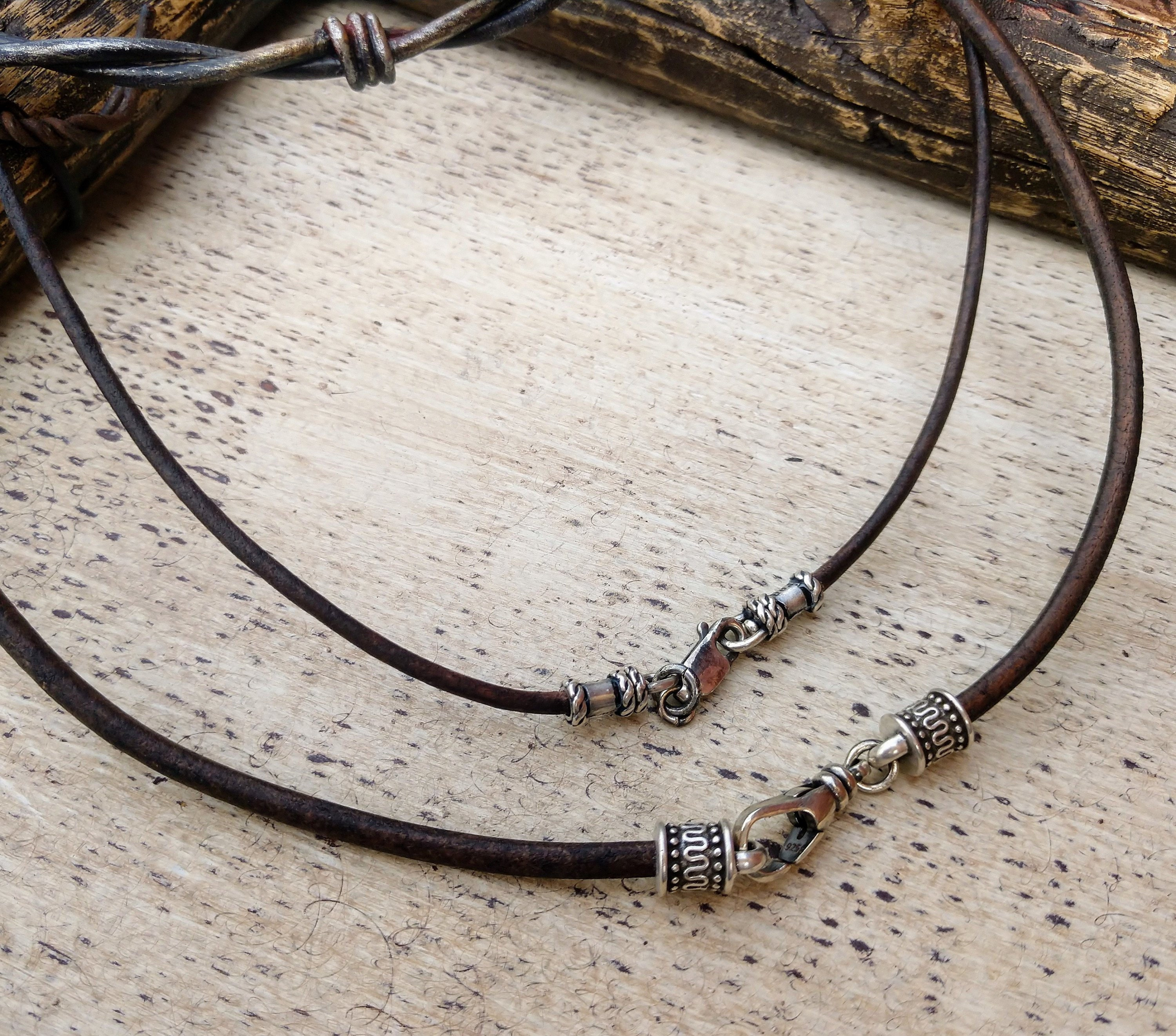 14k Yellow Gold 2mm 18in Natural Leather Cord Necklace