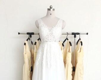 Beach wedding dress, Boho wedding dress, lace wedding dress, see through wedding dress, sleeveless V-back alencon lace with tulle skirt