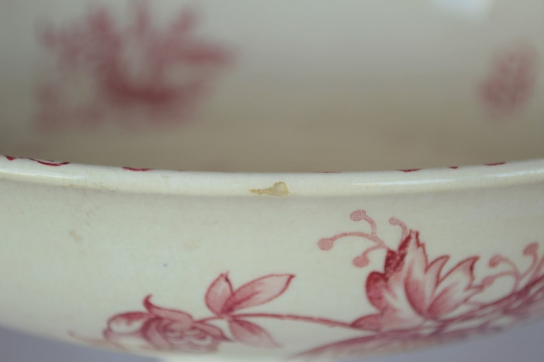 Chateau Decor Shabby Chic Vintage French ceramic Fruit Bowl Ironstone Compote Pedestal Stand SarregueminesTransfer motifs Alma