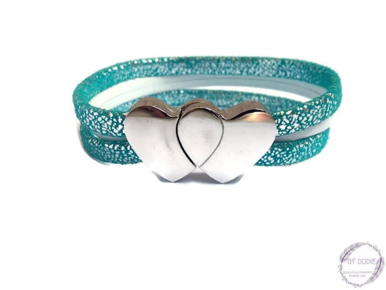 Bracelet turquoise silver and white leather clasp dual-core jewelry of creation By Dodie