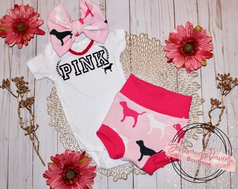 VALENTINES theme one of a kind ready to ship pink inspired baby girl outfits