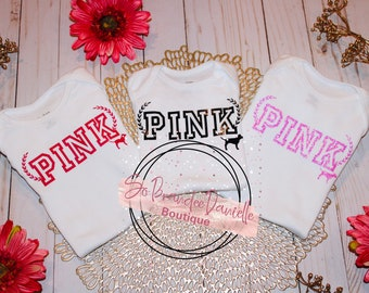 VS PINK Inspired Baby Pink Logo Bummies /& Bow Pink Baby