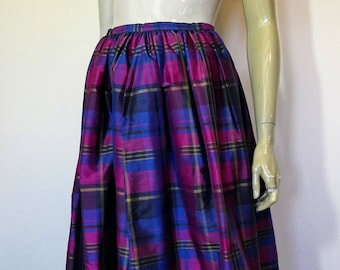 Laura Ashley Purple, Blue, Tartan, Plaid, Silk, Maxi Skirt, Size 12