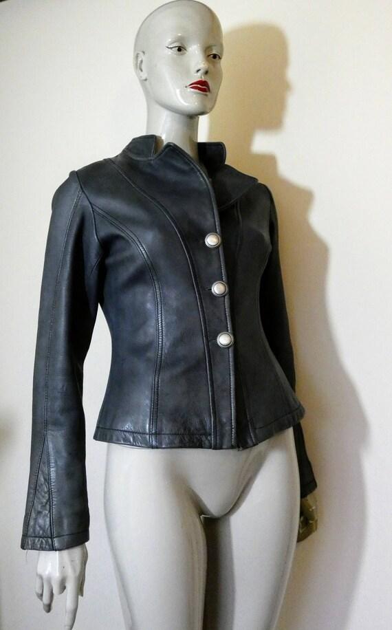 90s Vintage Designer RONAY Size 12 Coat 1990s Of London Grey EDINA Leather Jacket Zz8qwrZ