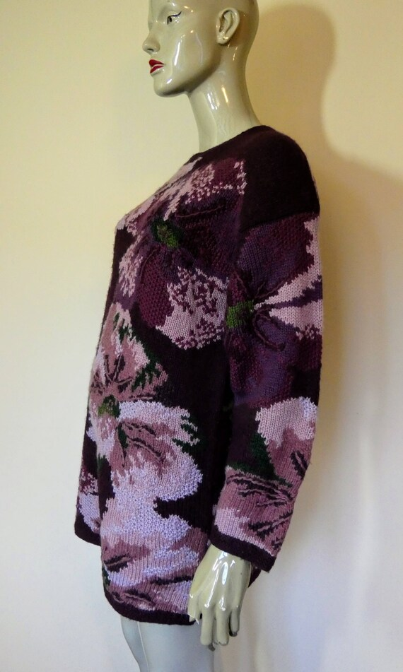 Over Sweater Size LAURA Sized Wool Floral Purple ASHLEY Medium Jumper Ew8Z8qvRY