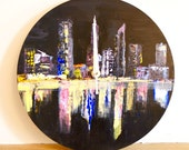 Night Cityscape Wall Clock, Non-ticking, Handpainted Clock, Unusual Wall Clock, Practical Art, Office clock, Perth Australia, wooden clock