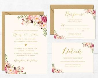 db51a5c66a0e Floral Wedding Invitation Printable Boho Wedding Invitation Suite Bohemian Wedding  Invite Floral Spring Summer Wedding Floral Collection
