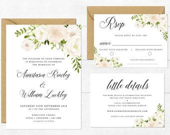 Printable Wedding Invitation, Floral Wedding Invite Set, White Flowers, Boho Wedding Invite, White Florals, Lily Wedding, Editable Invite