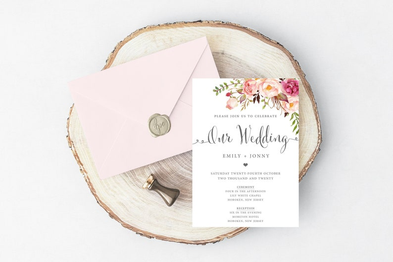 graphic regarding Etsy Wedding Invitations Printable named Floral Wedding day Invitation, Printable Wedding day Invitation, Printable Wedding day Invitation, Edit By yourself, Edit On the internet, Floral Wedding day Invitation