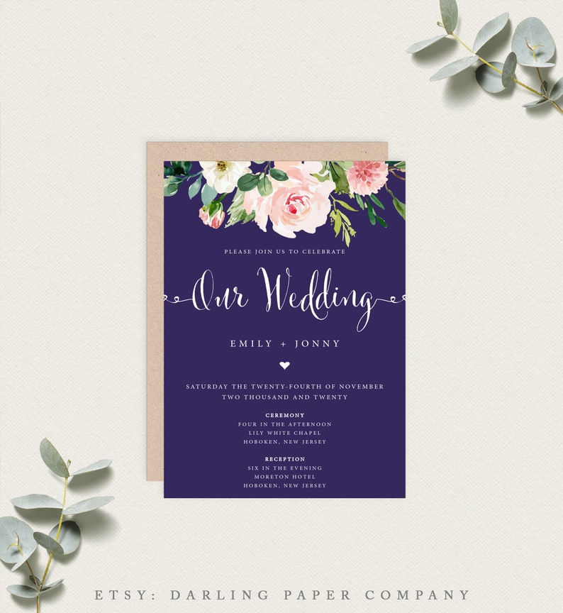 image relating to Etsy Wedding Invitations Printable titled Floral Marriage ceremony Invitation, Armed forces Wedding day Invitation, Boho Wedding day Invitation, Printable Wedding day Invitation, Editable