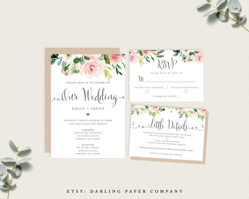 image about Etsy Wedding Invitations Printable named Wedding day Invitation Fixed, Floral Wedding day Invitation, Printable Wedding day Invitation, Template Obtain, Clic Wedding day Invitation, Floral