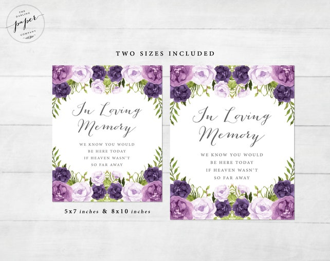 In Loving Memory Sign Wedding Sign Wedding Cards Sign Wedding