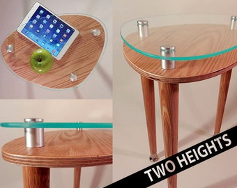 Triad Triangle Accent Table   Modern Side Oak End Table   Green Acrylic  Edge Contemporary Furniture