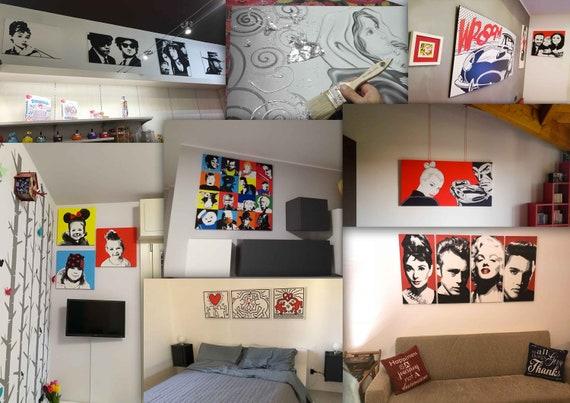 Quadri moderni 4 Pezzi DIPINTI A MANO Su Tela Kill Bill Pop Art Arredamento Casa