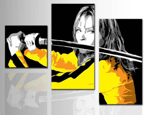 Set 3 Modern Painting Kill Bill Uma Thurman Pop Art Style Hand Painted NO  PRINT Art Movies Home Design Decor Gift