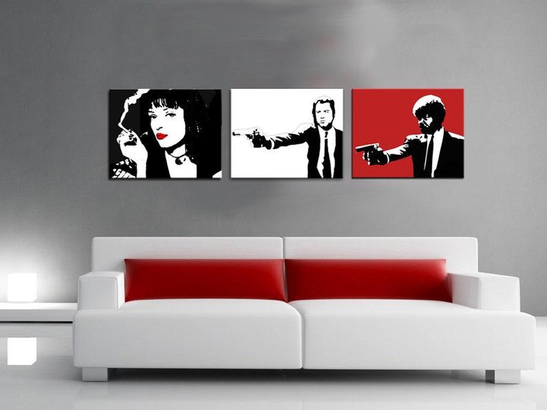Arredamento Stile Pop Art : Set quadri pulp fiction stile pop art dipinto a mano no etsy