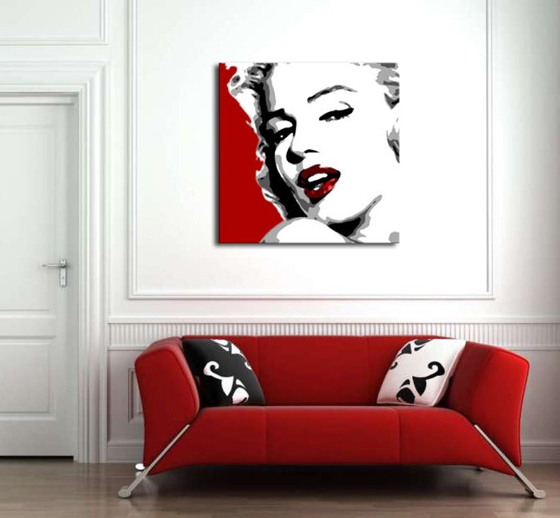 Pop art painting Marilyn Monroe art hand painted art wall | Etsy