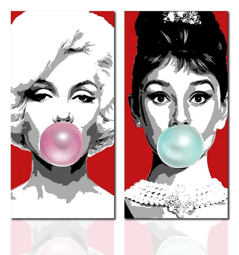 Painting Marilyn Monroe Audrey Hepburn pop art hand painted | Etsy