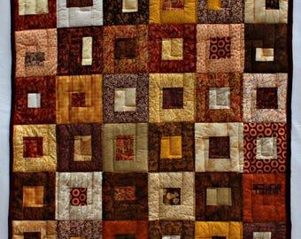 Autumn Lap Quilt, Handmade Modern Lap Quilt, Brown Quilt, Brown Lap Quilt, Geometric Quilt, Brown Boxes Lap Quilt