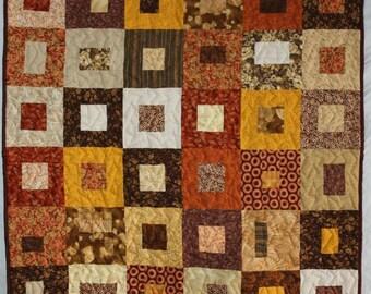 Fall Lap Quilt, Modern Lap Quilt, Brown Quilt, Brown Lap Quilt, Geometric Quilt, Brown Boxes Lap Quilt