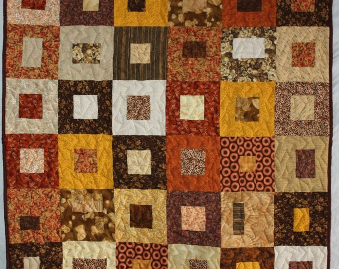 Featured listing image: Fall Lap Quilt, Modern Lap Quilt, Brown Quilt, Brown Lap Quilt, Geometric Quilt, Brown Boxes Lap Quilt